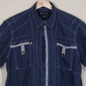 Solid Blue Short-Sleeve Casual Shirt